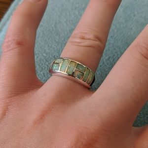 Size 5 sterling silver opal ring